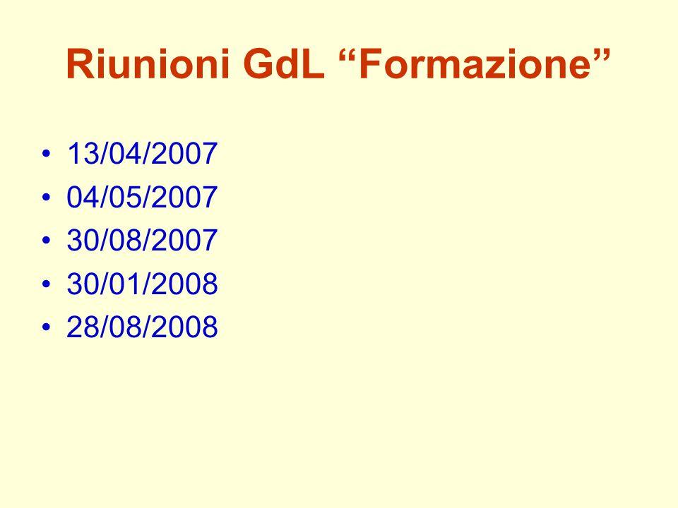 """Riunioni GdL """"Formazione"""" 13/04/2007 04/05/2007 30/08/2007 30/01/2008 28/08/2008"""