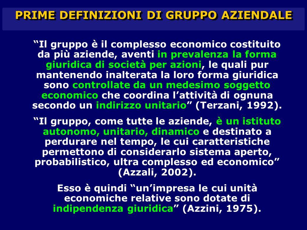 """""""Il gruppo è il complesso economico costituito da più aziende, aventi in prevalenza la forma giuridica di società per azioni, le quali pur mantenendo"""