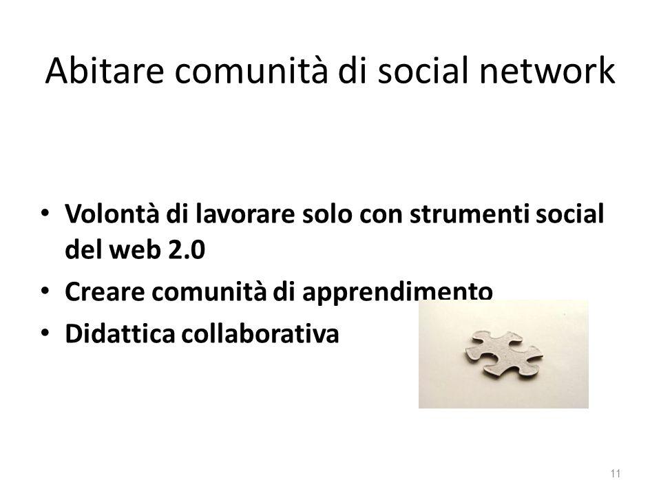 Abitare comunità di social network Volontà di lavorare solo con strumenti social del web 2.0 Creare comunità di apprendimento Didattica collaborativa 11