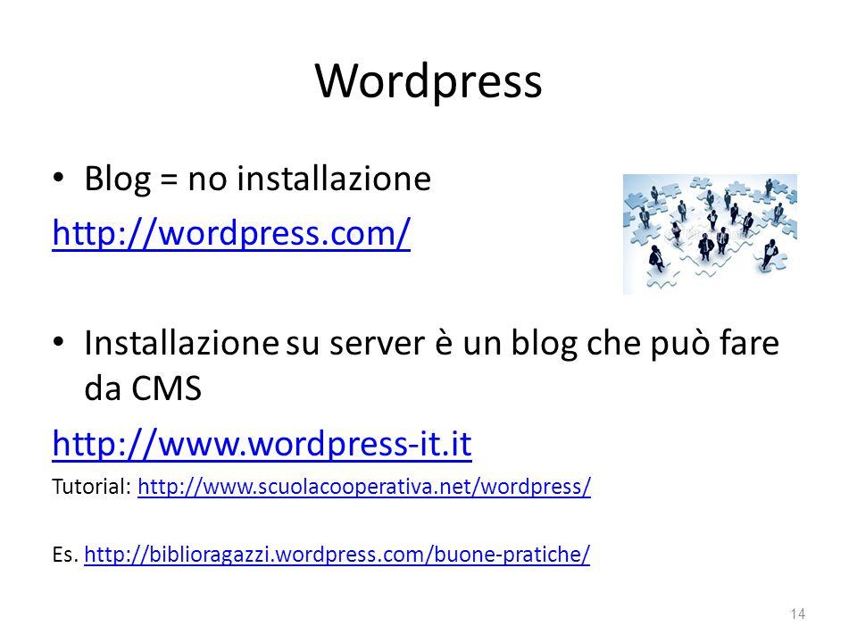 Wordpress Blog = no installazione http://wordpress.com/ Installazione su server è un blog che può fare da CMS http://www.wordpress-it.it Tutorial: htt