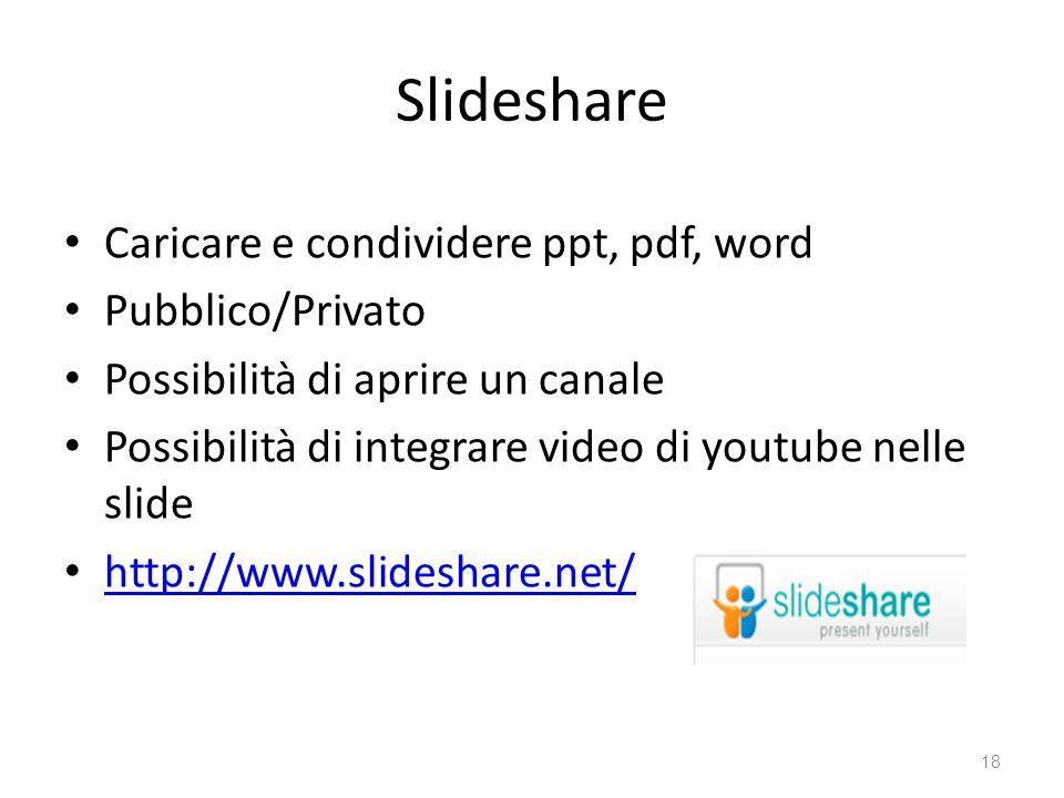 Slideshare Caricare e condividere ppt, pdf, word Pubblico/Privato Possibilità di aprire un canale Possibilità di integrare video di youtube nelle slide http://www.slideshare.net/ 18