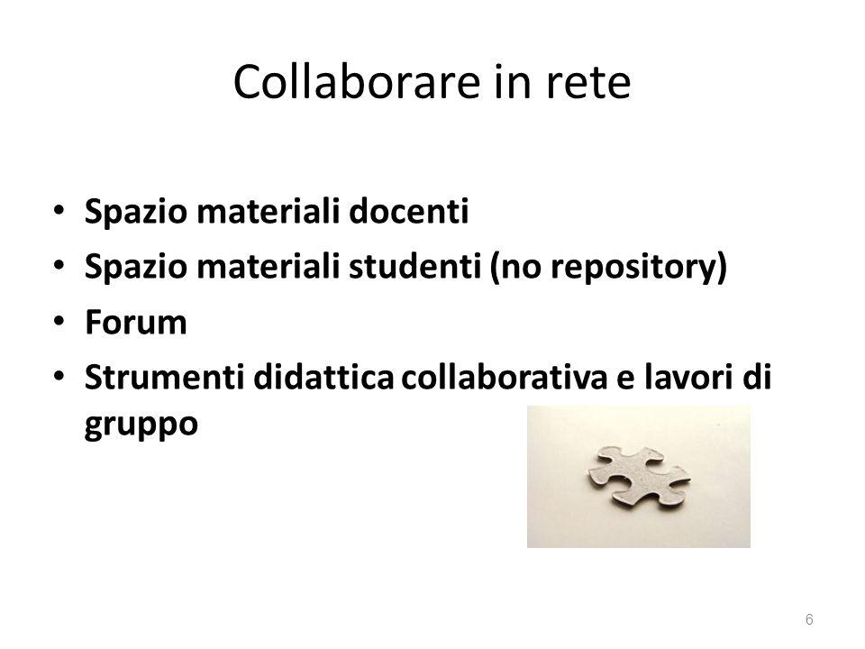 Collaborare in rete Spazio materiali docenti Spazio materiali studenti (no repository) Forum Strumenti didattica collaborativa e lavori di gruppo 6