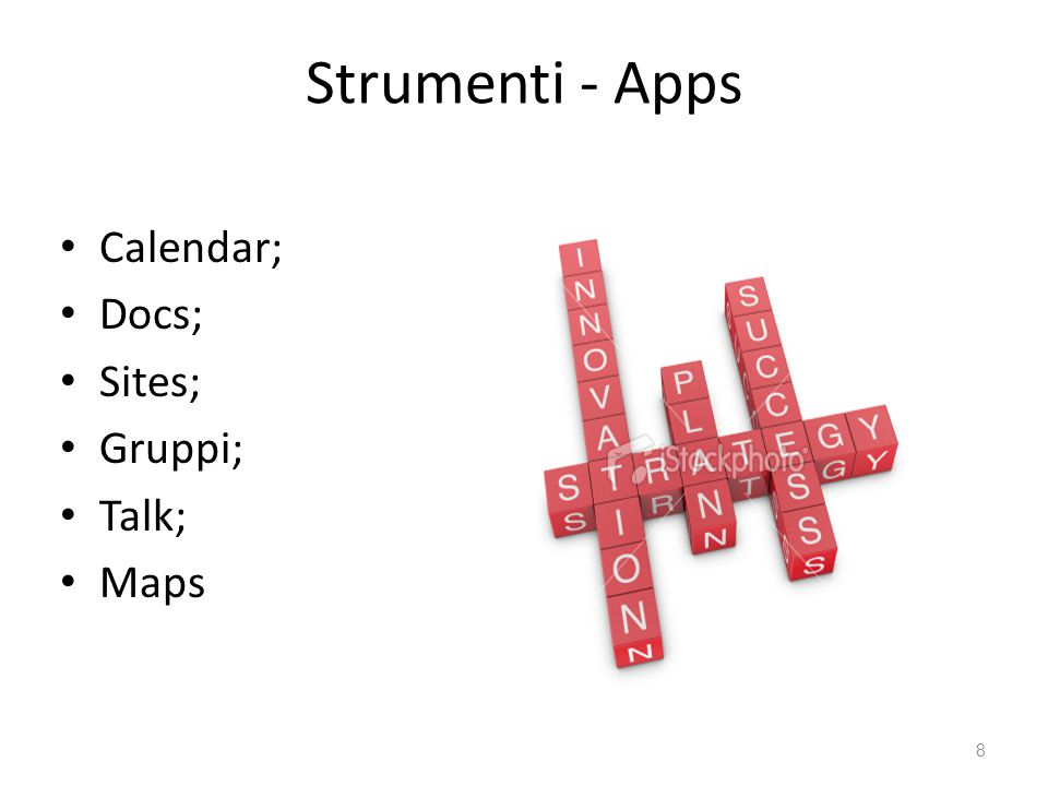 Strumenti - Apps Calendar; Docs; Sites; Gruppi; Talk; Maps 8