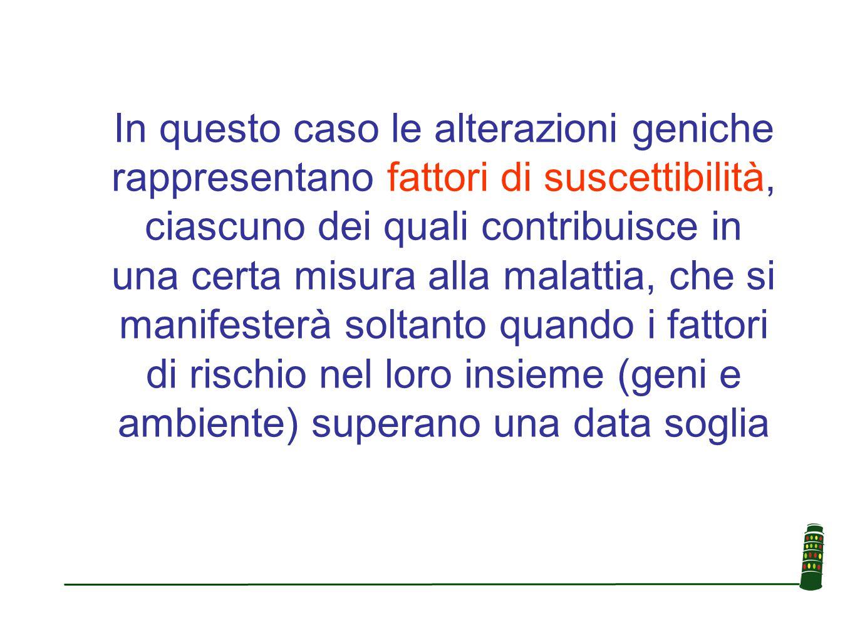In questo caso le alterazioni geniche rappresentano fattori di suscettibilità, ciascuno dei quali contribuisce in una certa misura alla malattia, che