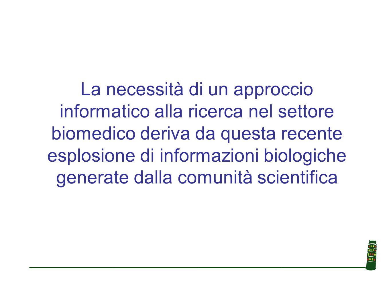 La necessità di un approccio informatico alla ricerca nel settore biomedico deriva da questa recente esplosione di informazioni biologiche generate da