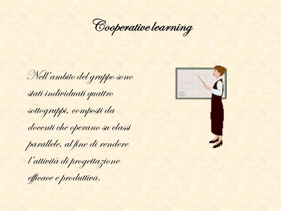 Cooperative learning Nell'ambito del gruppo sono stati individuati quattro sottogruppi, composti da docenti che operano su classi parallele, al fine d