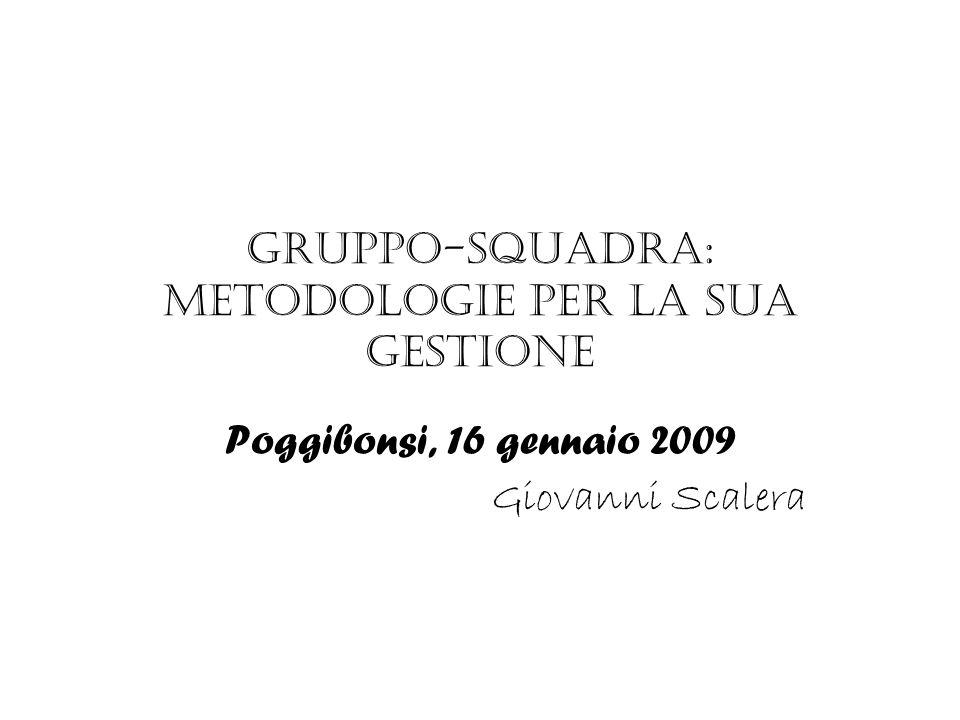 Gruppo-squadra: metodologie per la sua gestione Poggibonsi, 16 gennaio 2009 Giovanni Scalera