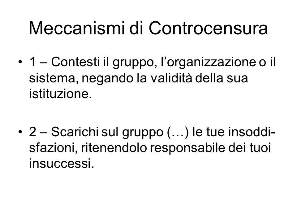 Meccanismi di Controcensura 1 – Contesti il gruppo, l'organizzazione o il sistema, negando la validità della sua istituzione.