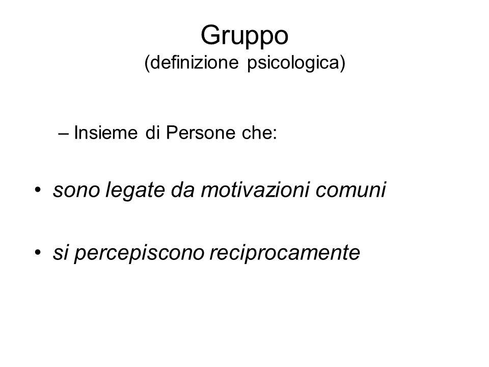 Gruppo (definizione psicologica) –Insieme di Persone che: sono legate da motivazioni comuni si percepiscono reciprocamente