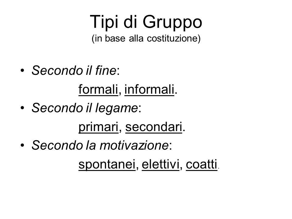 Tipi di Gruppo (in base alla costituzione) Secondo il fine: formali, informali.
