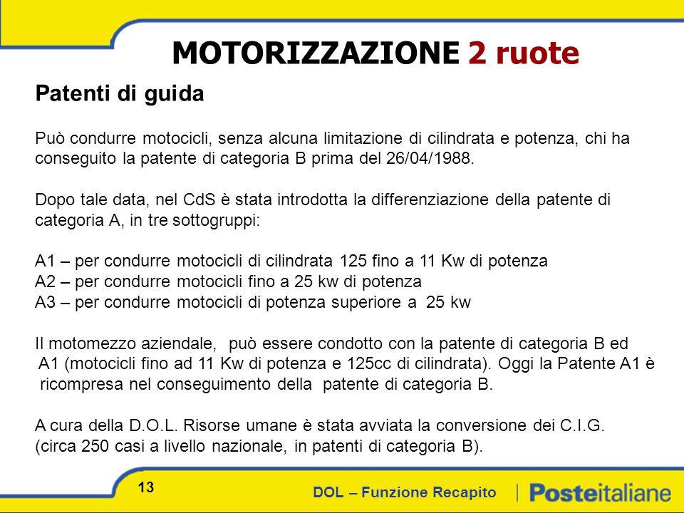 DOL – Funzione Recapito MOTORIZZAZIONE 2 ruote Patenti di guida Può condurre motocicli, senza alcuna limitazione di cilindrata e potenza, chi ha conseguito la patente di categoria B prima del 26/04/1988.