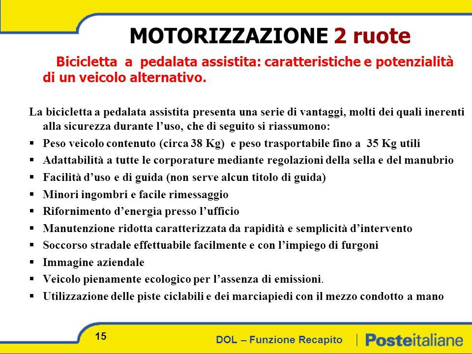 DOL – Funzione Recapito MOTORIZZAZIONE 2 ruote Bicicletta a pedalata assistita: caratteristiche e potenzialità di un veicolo alternativo.