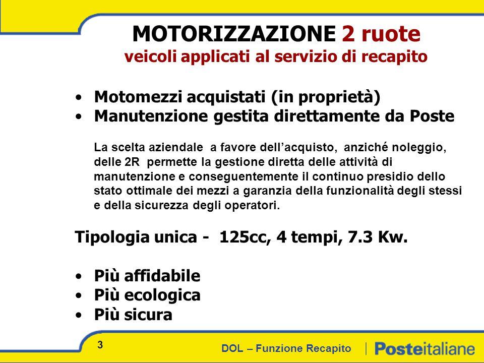 DOL – Funzione Recapito NUOVA MOTORIZZAZIONE 4 ruote 24