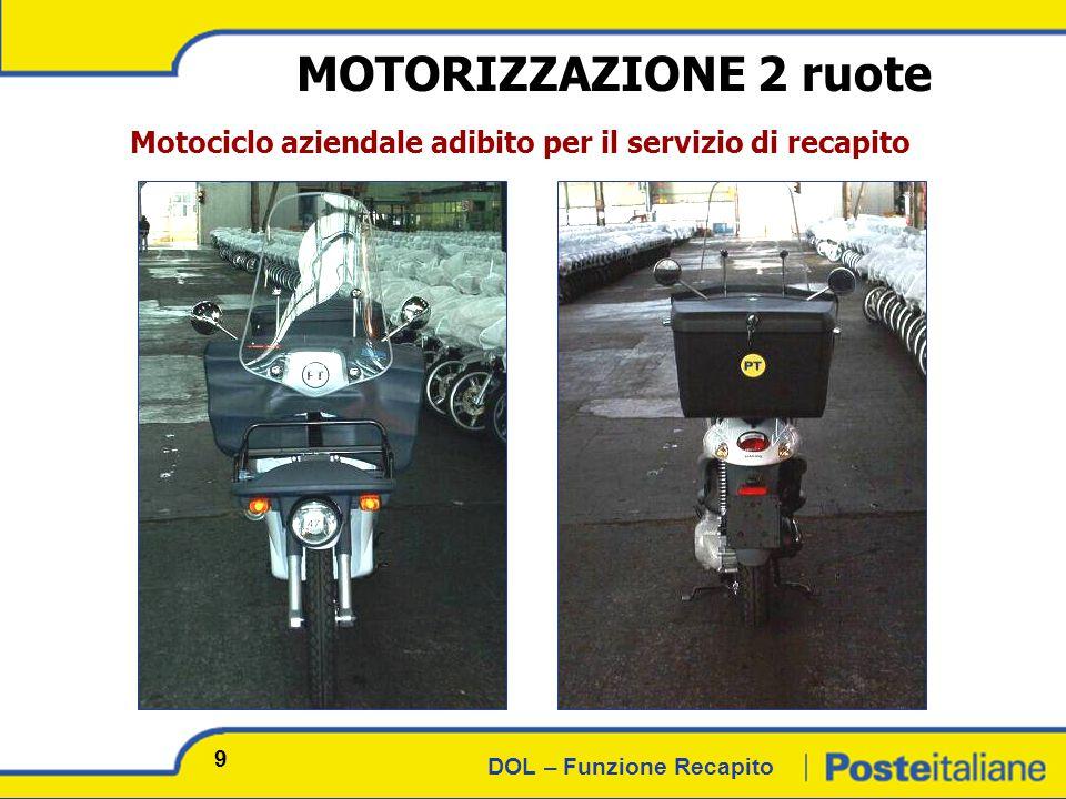 DOL – Funzione Recapito MOTORIZZAZIONE 2 ruote Motociclo aziendale adibito per il servizio di recapito 9