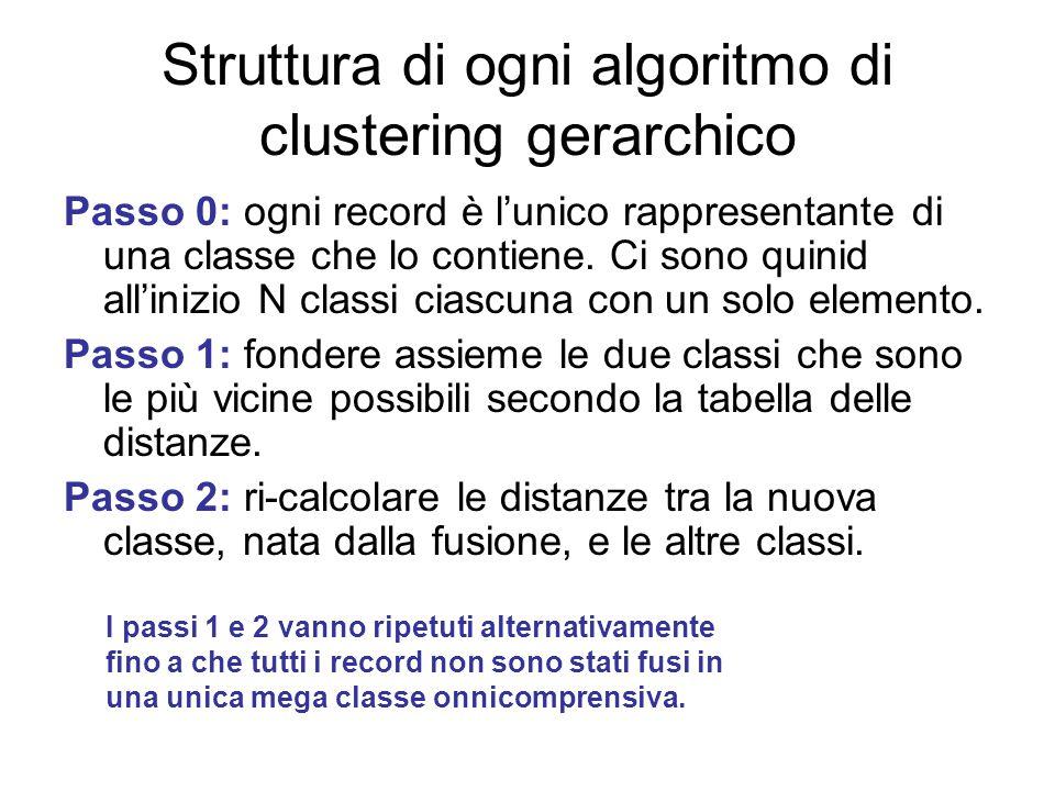 Struttura di ogni algoritmo di clustering gerarchico Passo 0: ogni record è l'unico rappresentante di una classe che lo contiene.