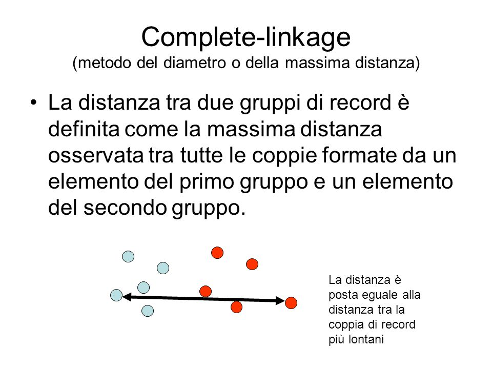 Complete-linkage (metodo del diametro o della massima distanza) La distanza tra due gruppi di record è definita come la massima distanza osservata tra tutte le coppie formate da un elemento del primo gruppo e un elemento del secondo gruppo.