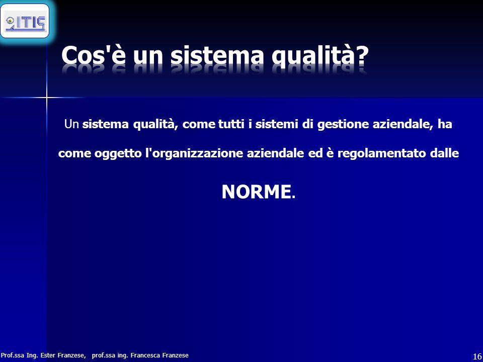 Prof.ssa Ing. Ester Franzese, prof.ssa ing. Francesca Franzese 16 Un sistema qualità, come tutti i sistemi di gestione aziendale, ha come oggetto l'or