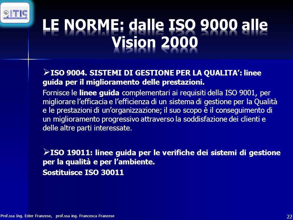 Prof.ssa Ing.Ester Franzese, prof.ssa ing. Francesca Franzese 22  ISO 9004.
