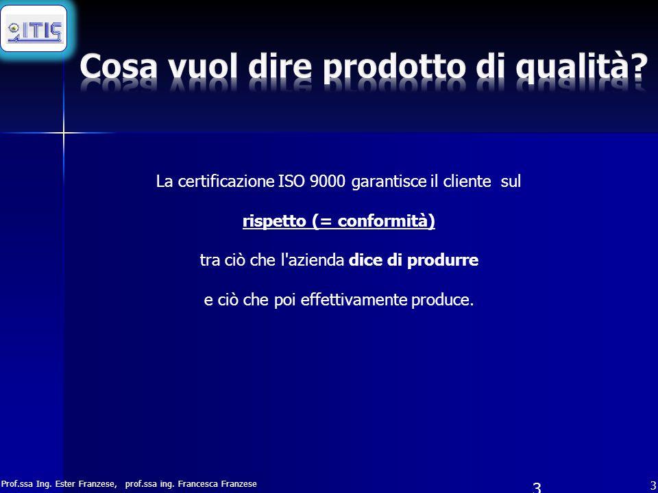 Prof.ssa Ing. Ester Franzese, prof.ssa ing. Francesca Franzese 3 3 La certificazione ISO 9000 garantisce il cliente sul rispetto (= conformità) tra ci