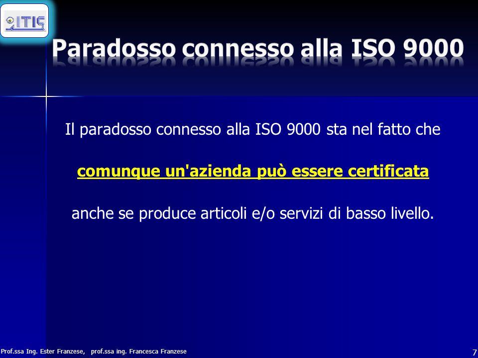 Prof.ssa Ing. Ester Franzese, prof.ssa ing. Francesca Franzese 7 Il paradosso connesso alla ISO 9000 sta nel fatto che comunque un'azienda può essere