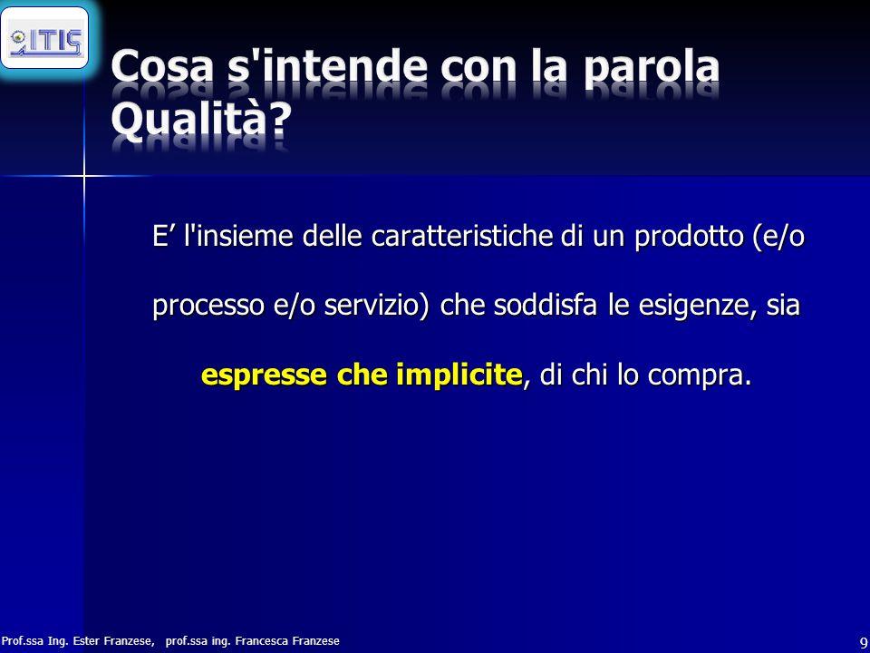 Prof.ssa Ing. Ester Franzese, prof.ssa ing. Francesca Franzese 9 E' l'insieme delle caratteristiche di un prodotto (e/o processo e/o servizio) che sod