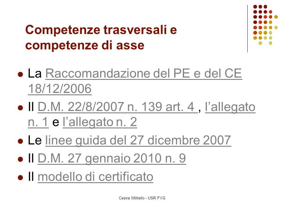 Competenze trasversali e competenze di asse La Raccomandazione del PE e del CE 18/12/2006Raccomandazione del PE e del CE 18/12/2006 Il D.M. 22/8/2007