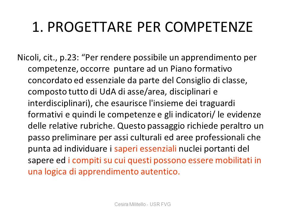 """1. PROGETTARE PER COMPETENZE Nicoli, cit., p.23: """"Per rendere possibile un apprendimento per competenze, occorre puntare ad un Piano formativo concord"""