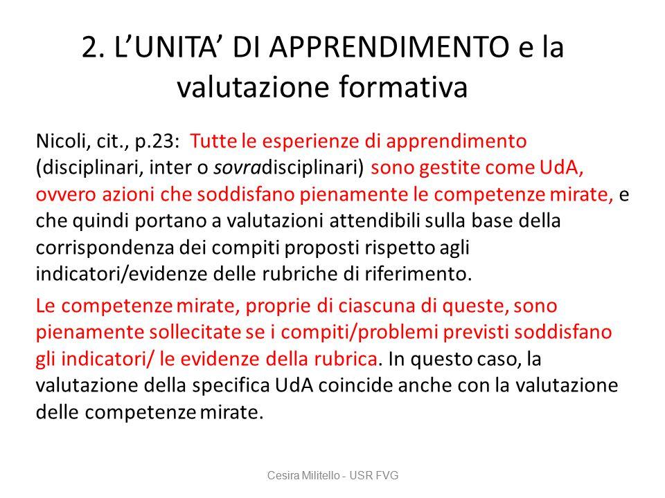 2. L'UNITA' DI APPRENDIMENTO e la valutazione formativa Nicoli, cit., p.23: Tutte le esperienze di apprendimento (disciplinari, inter o sovradisciplin