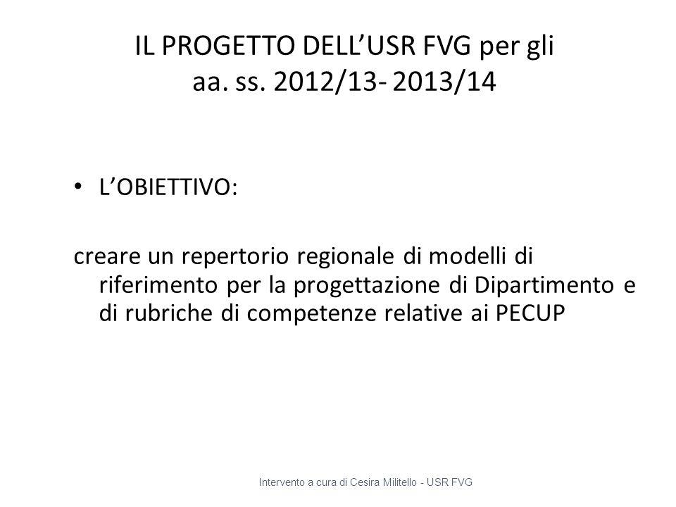IL PROGETTO DELL'USR FVG per gli aa. ss. 2012/13- 2013/14 L'OBIETTIVO: creare un repertorio regionale di modelli di riferimento per la progettazione d