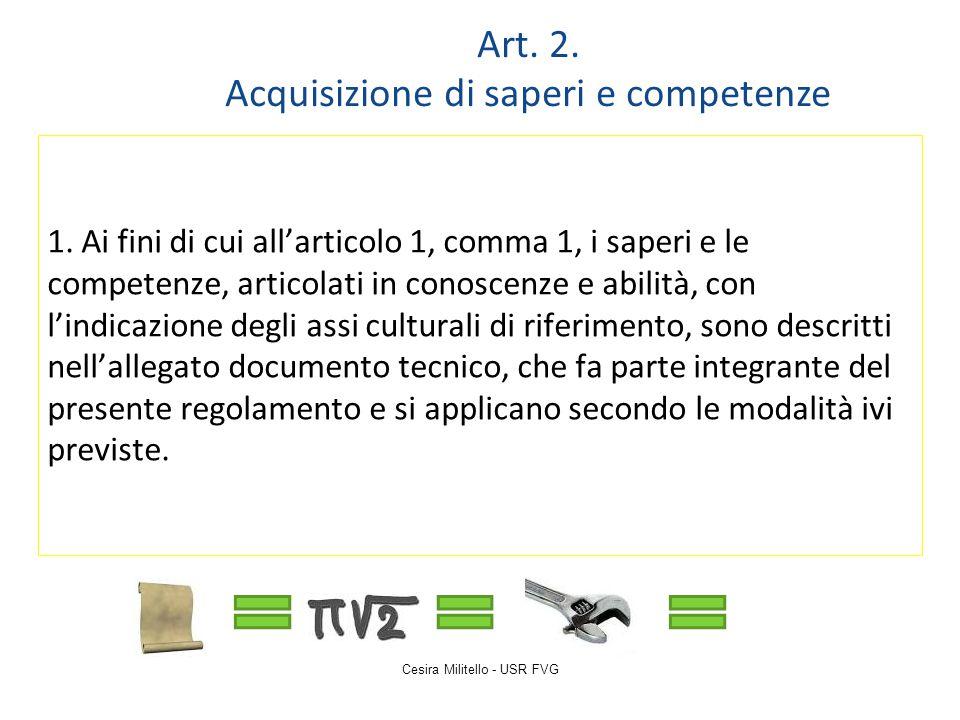 Cesira Militello - USR FVG 1. Ai fini di cui all'articolo 1, comma 1, i saperi e le competenze, articolati in conoscenze e abilità, con l'indicazione