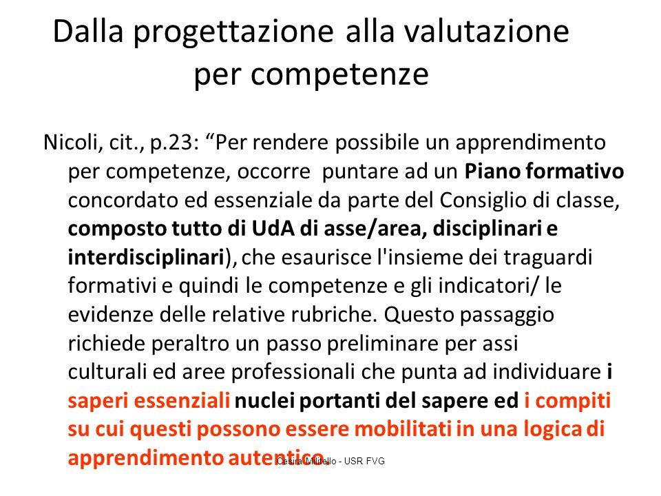 """Dalla progettazione alla valutazione per competenze Nicoli, cit., p.23: """"Per rendere possibile un apprendimento per competenze, occorre puntare ad un"""