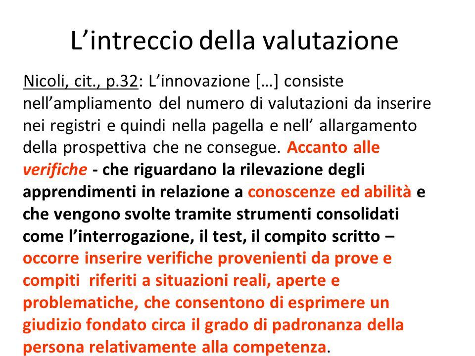 L'intreccio della valutazione Nicoli, cit., p.32: L'innovazione […] consiste nell'ampliamento del numero di valutazioni da inserire nei registri e qui