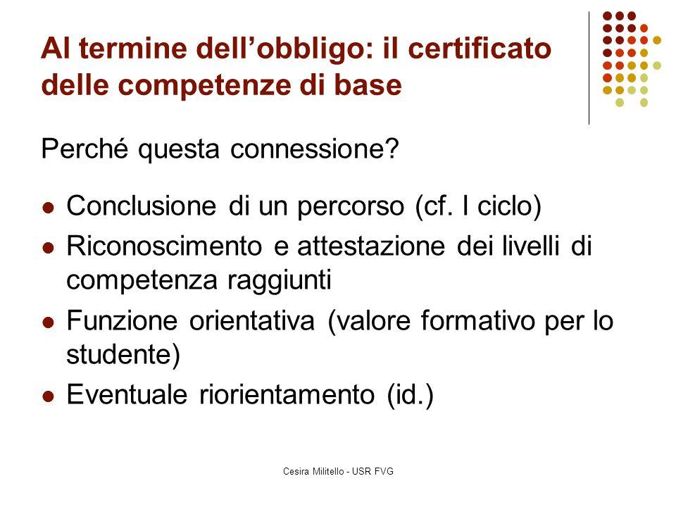 Al termine dell'obbligo: il certificato delle competenze di base Perché questa connessione? Conclusione di un percorso (cf. I ciclo) Riconoscimento e