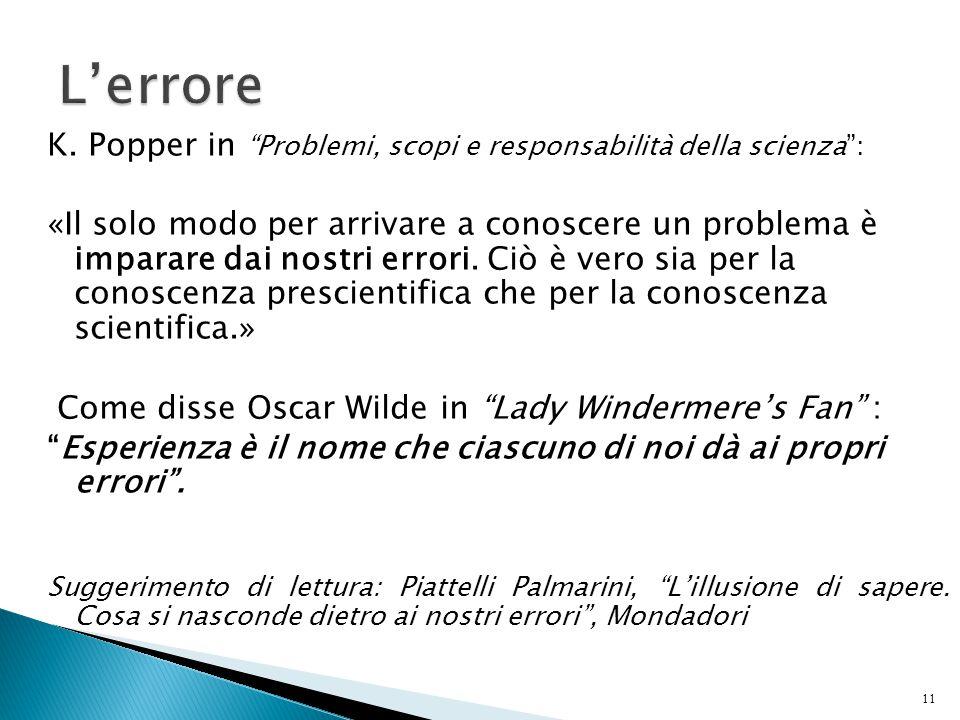 """11 K. Popper in """"Problemi, scopi e responsabilità della scienza"""": «Il solo modo per arrivare a conoscere un problema è imparare dai nostri errori. Ciò"""