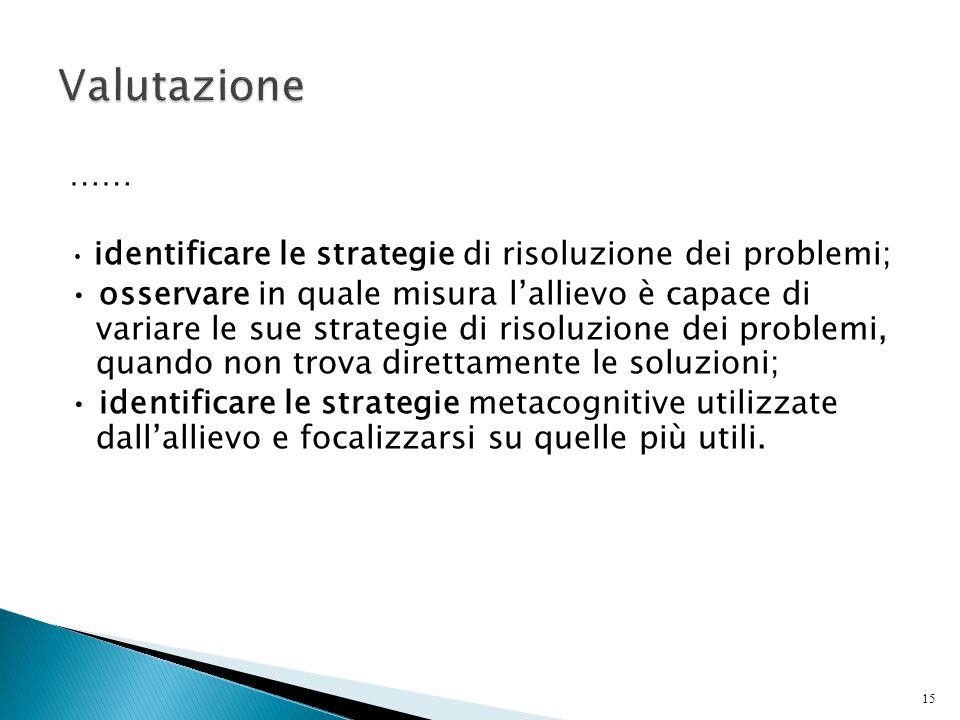 15 …… identificare le strategie di risoluzione dei problemi; osservare in quale misura l'allievo è capace di variare le sue strategie di risoluzione d