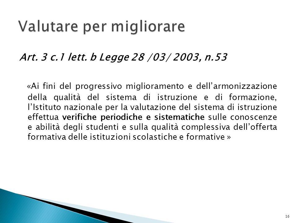 Art. 3 c.1 lett. b Legge 28 /03/ 2003, n.53 «Ai fini del progressivo miglioramento e dell'armonizzazione della qualità del sistema di istruzione e di