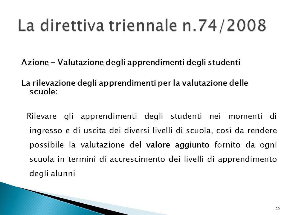 Azione - Valutazione degli apprendimenti degli studenti La rilevazione degli apprendimenti per la valutazione delle scuole: Rilevare gli apprendimenti