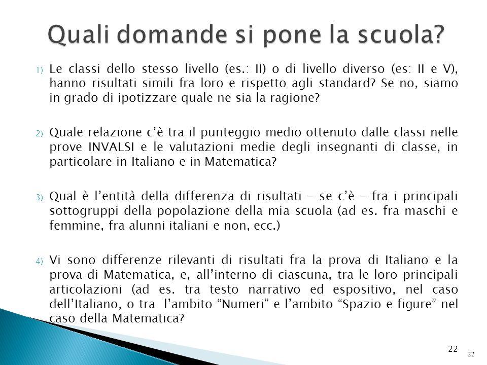 1) Le classi dello stesso livello (es.: II) o di livello diverso (es: II e V), hanno risultati simili fra loro e rispetto agli standard? Se no, siamo