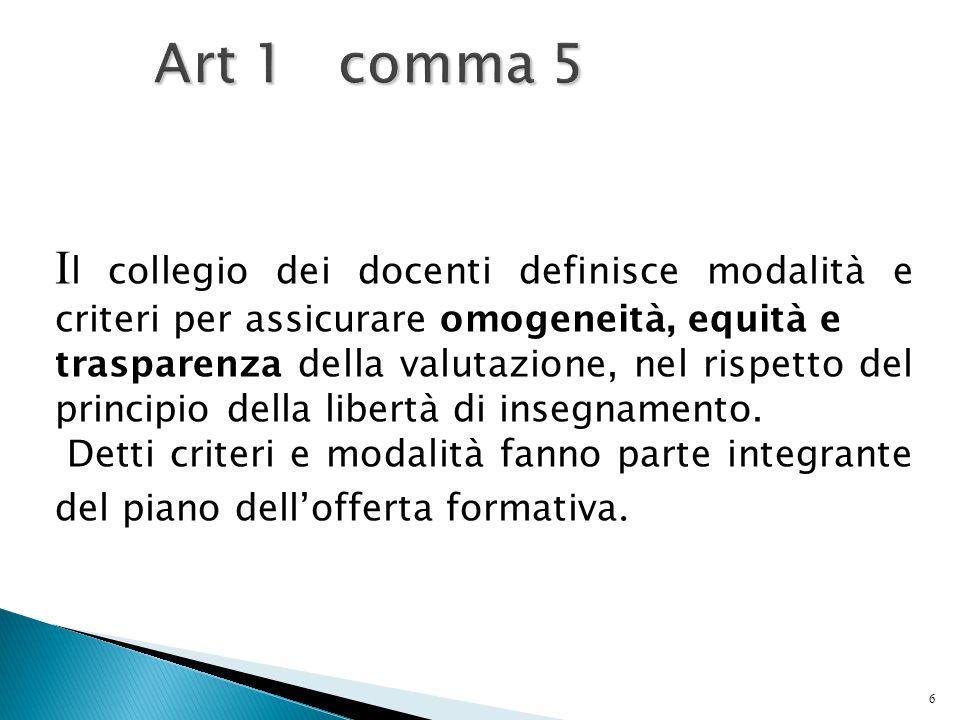 6 Art 1 comma 5 I l collegio dei docenti definisce modalità e criteri per assicurare omogeneità, equità e trasparenza della valutazione, nel rispetto