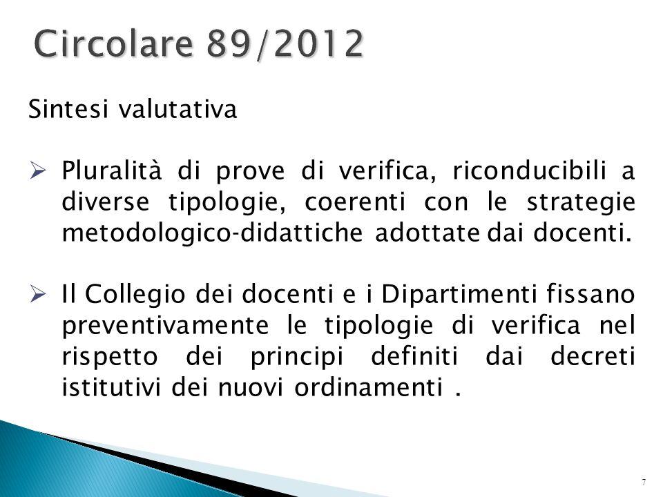 7 Circolare 89/2012 Sintesi valutativa  Pluralità di prove di verifica, riconducibili a diverse tipologie, coerenti con le strategie metodologico-did