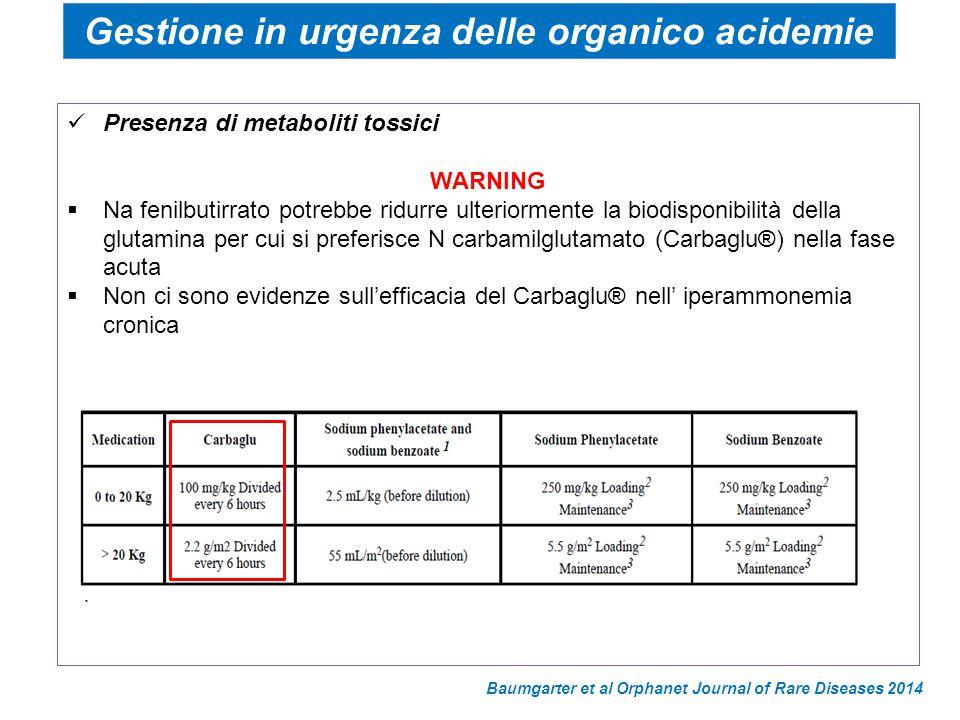 Presenza di metaboliti tossici WARNING  Na fenilbutirrato potrebbe ridurre ulteriormente la biodisponibilità della glutamina per cui si preferisce N
