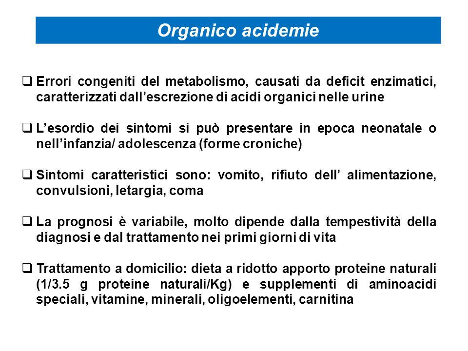 Errori congeniti del metabolismo, causati da deficit enzimatici, caratterizzati dall'escrezione di acidi organici nelle urine  L'esordio dei sintom