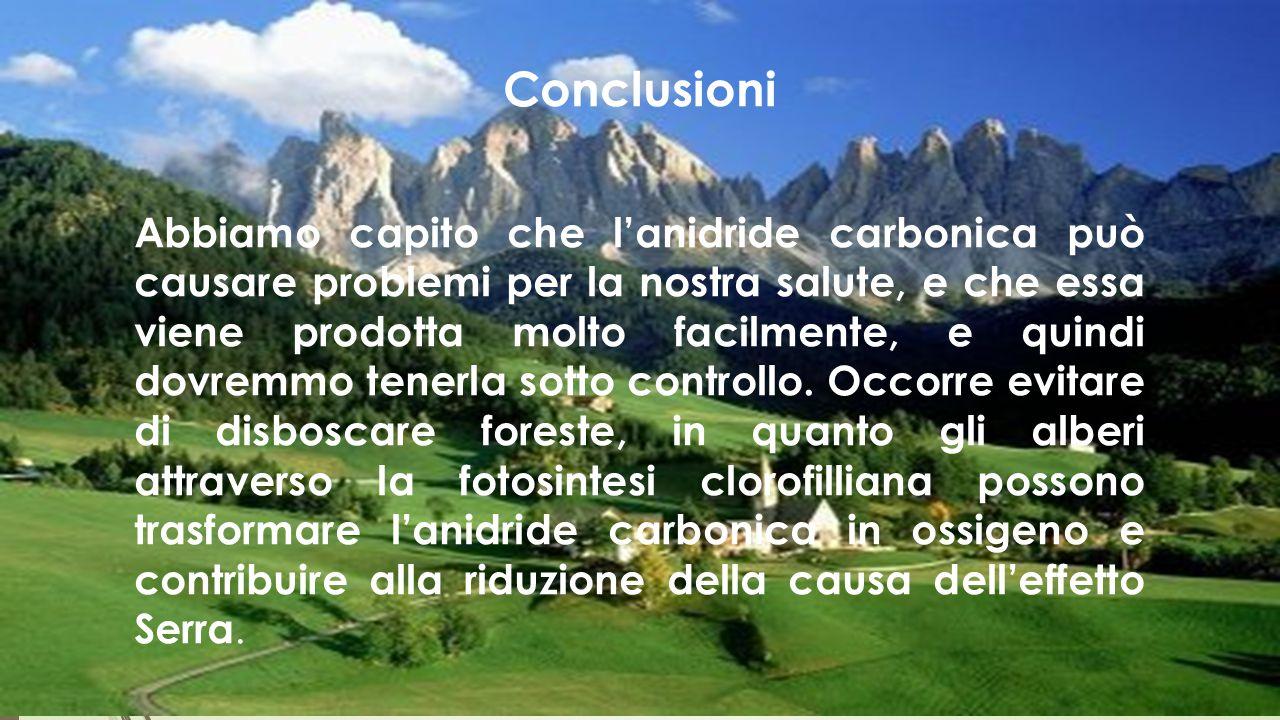 Conclusioni Abbiamo capito che l'anidride carbonica può causare problemi per la nostra salute, e che essa viene prodotta molto facilmente, e quindi do