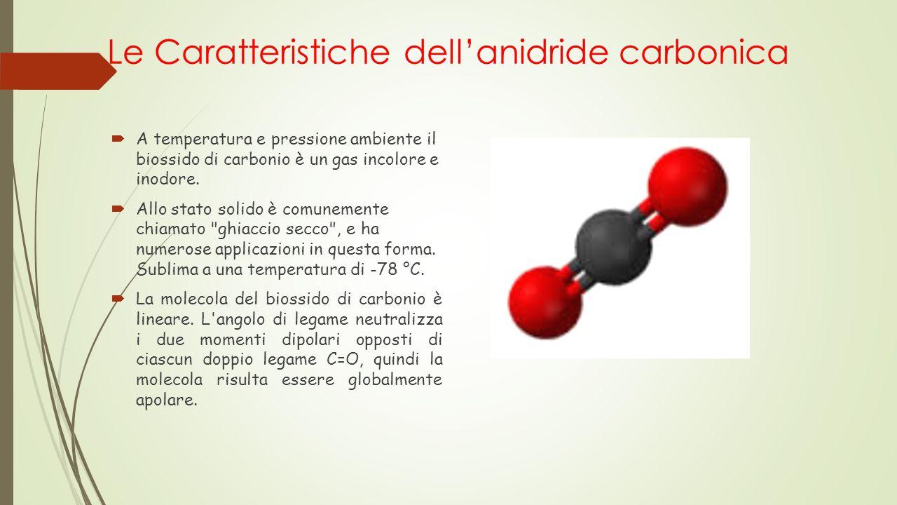 Le Caratteristiche dell'anidride carbonica  A temperatura e pressione ambiente il biossido di carbonio è un gas incolore e inodore.  Allo stato soli