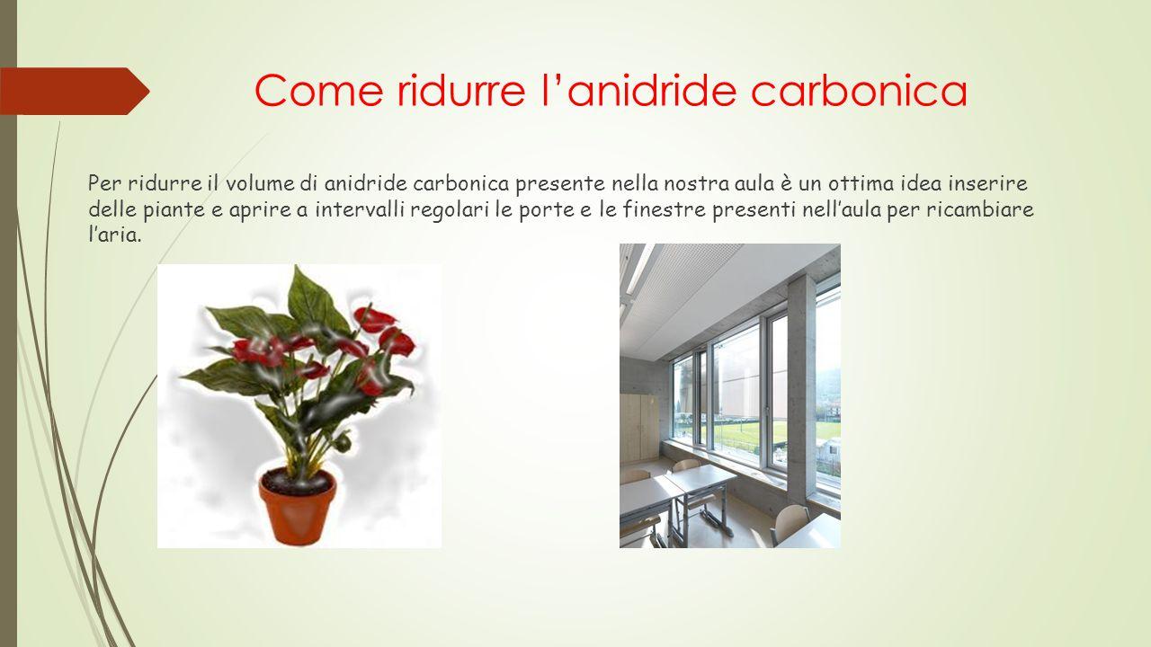 Come ridurre l'anidride carbonica Per ridurre il volume di anidride carbonica presente nella nostra aula è un ottima idea inserire delle piante e apri