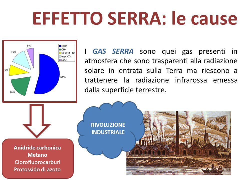 EFFETTO SERRA: le cause I GAS SERRA sono quei gas presenti in atmosfera che sono trasparenti alla radiazione solare in entrata sulla Terra ma riescono