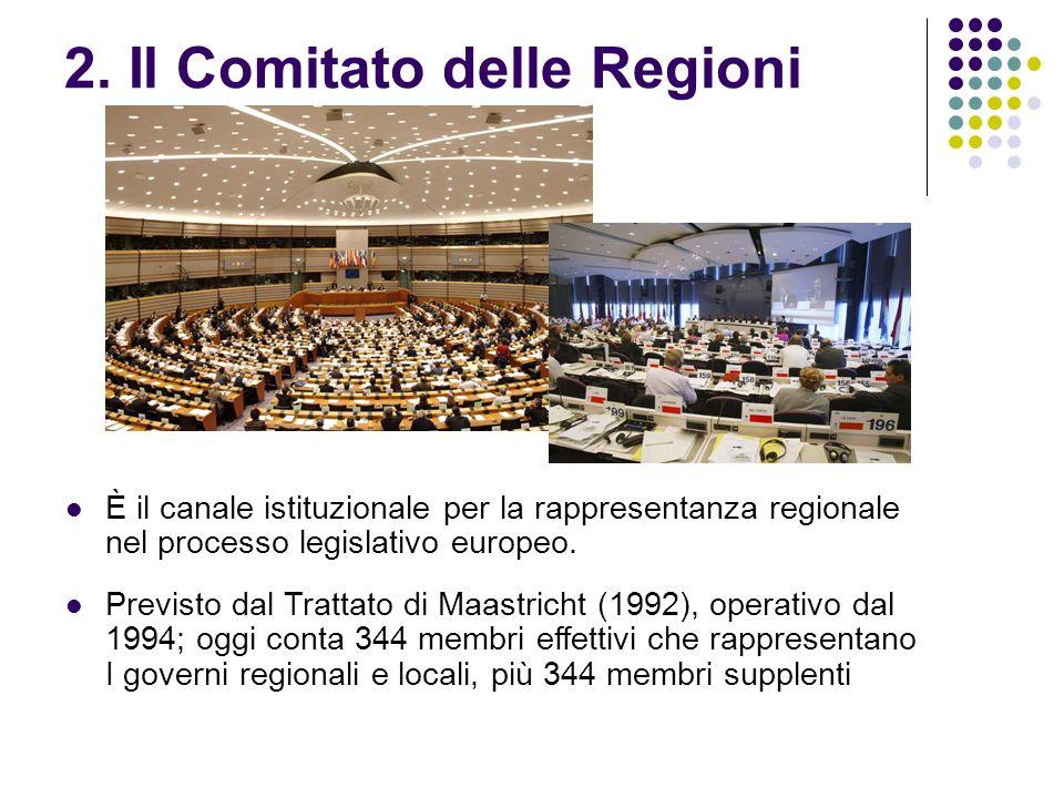 2. Il Comitato delle Regioni È il canale istituzionale per la rappresentanza regionale nel processo legislativo europeo. Previsto dal Trattato di Maas