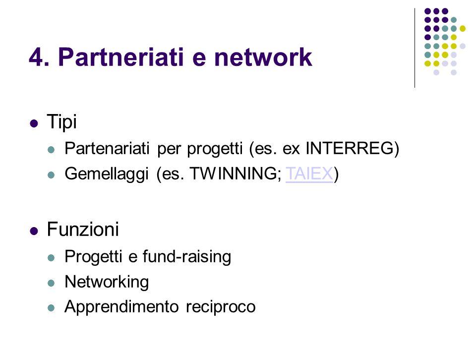 4. Partneriati e network Tipi Partenariati per progetti (es.