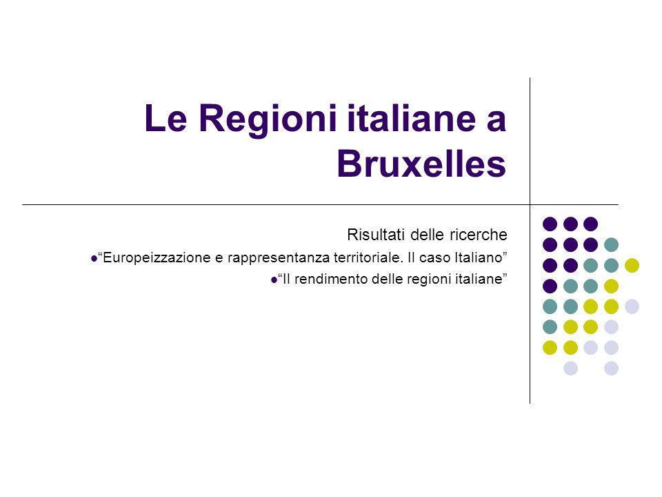 Le Regioni italiane a Bruxelles Risultati delle ricerche Europeizzazione e rappresentanza territoriale.