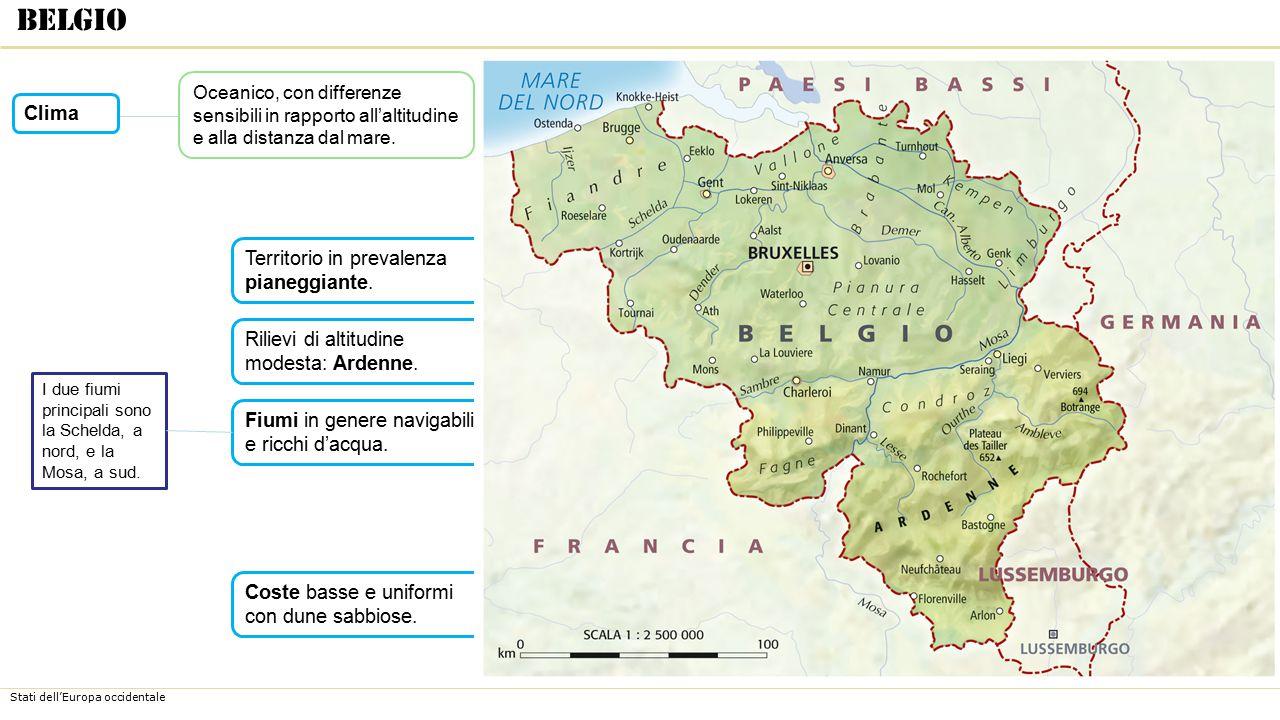 Stati dell'Europa occidentale Coste basse e uniformi con dune sabbiose. Fiumi in genere navigabili e ricchi d'acqua. Rilievi di altitudine modesta: Ar